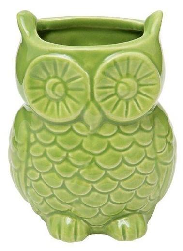 Warm Design Baykuş Dekoratif Vazo Yeşil